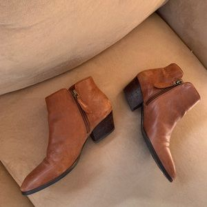 Franco Sarto Leather Pointed Toe Heeled Booties